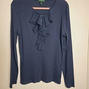 Lauren by Ralph Lauren Knit Top Organza Ruffle